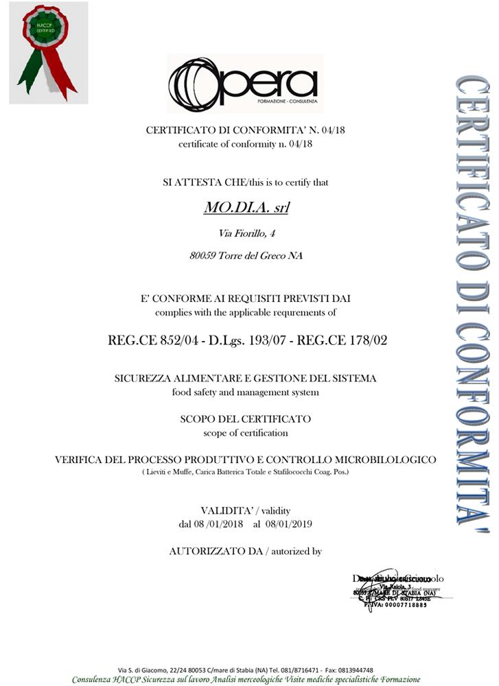 Certificato di conformit�